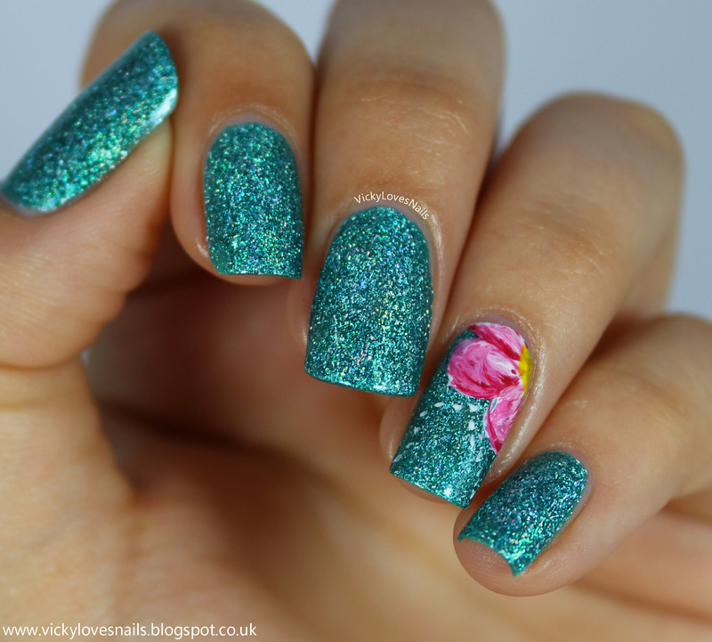 Turquoise Nails with Floral Accent nail art by Vicky Standage