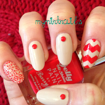 Nude and Red nail art by MyMintNails