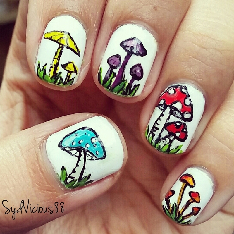 mushrooms nail art by SydVicious