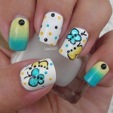 Butterfly Doodles nail art by Iliana S.