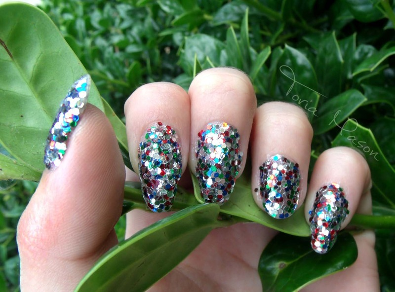 Sequin Spangle banner nail art by Toria Mason
