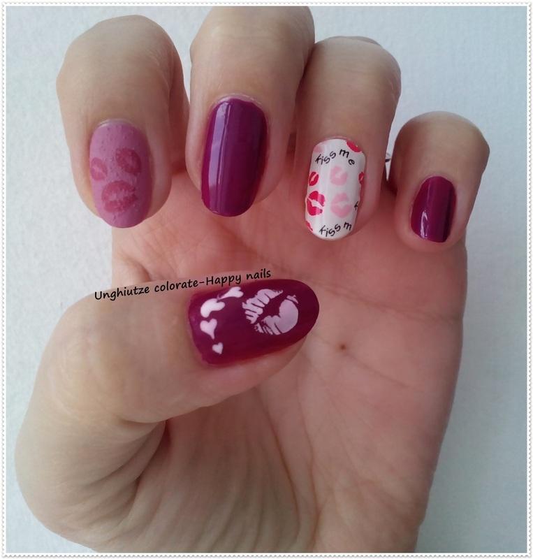 Kiss me nail art by Oana  Alexandru