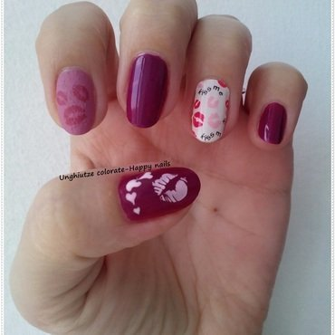 Kiss me nail art by Oana  Alexandru