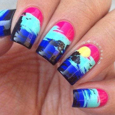 Pop Art Sunset nail art by Cho