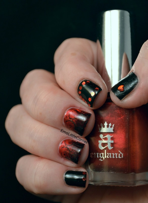 British Nail Bloggers Colour Me Crazy Red Challenge Nail Art By Emma