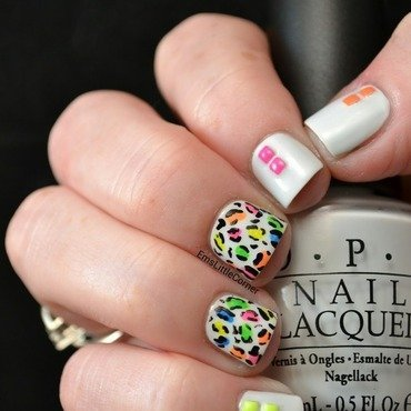 Neon Mini Leopard nail art by Emma B