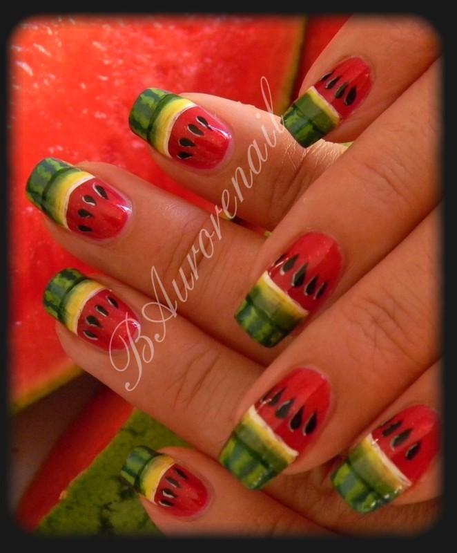 Nail art pastéque nail art by BAurorenail