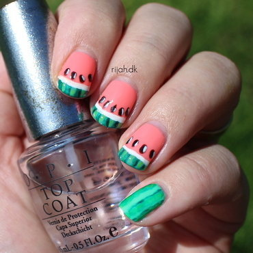 Watermelon nail art by Maria Marker