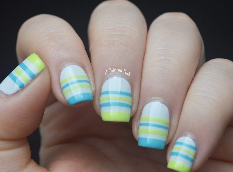 Twinsie Tuesday: Summery Stripes nail art by Bridget Reynolds