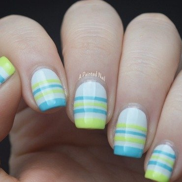 Twinsie Tuesday: Summery Stripes nail art by Bridget Reynolds