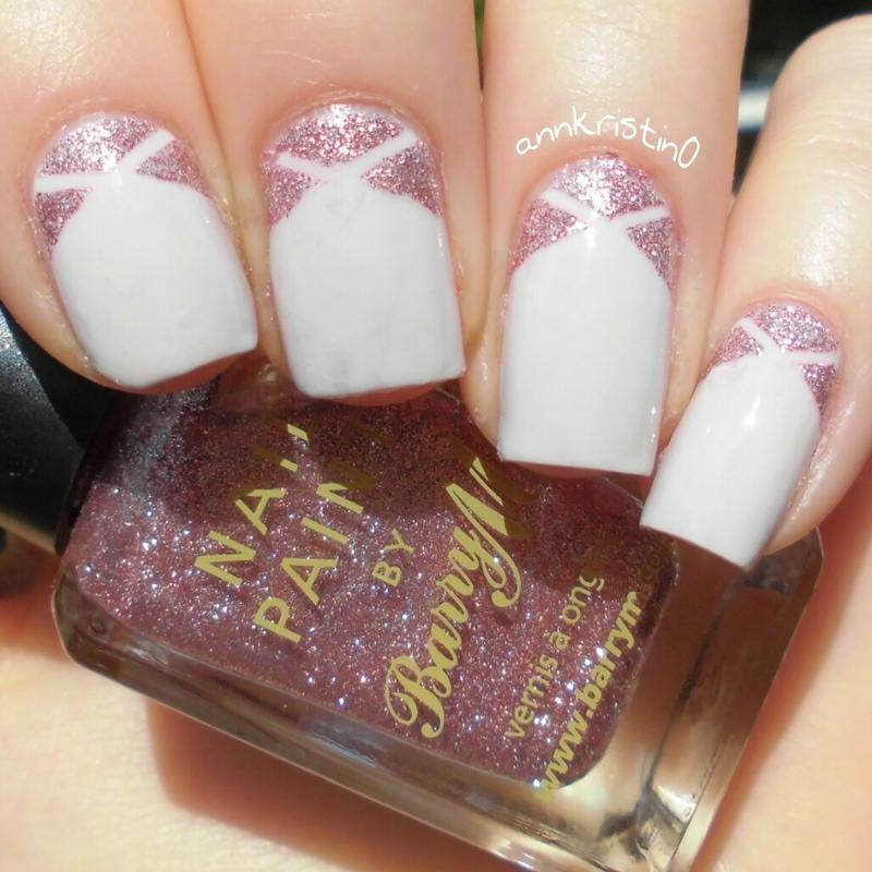 Pink Glitter Tape Mani nail art by Ann-Kristin