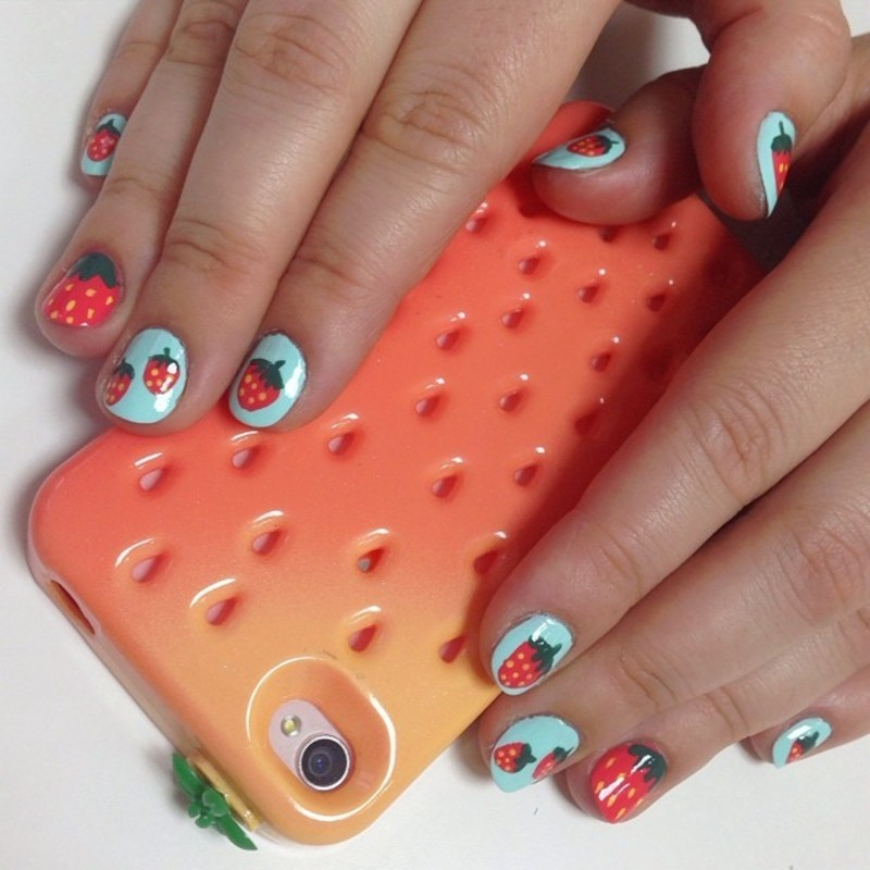 strawberry nails ) nail art by Let's Nail Moscow