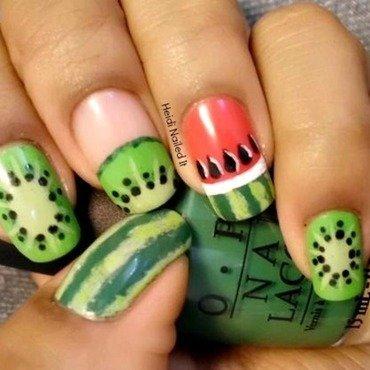 Melons & Kiwi nail art by Heidi P