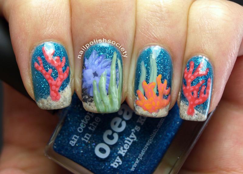 Coral Reef nail art by Emiline Harris