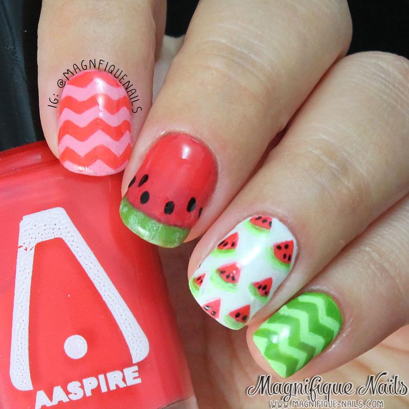 Watermelon Nails nail art by Ana