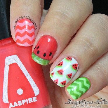 Watermelon Nails nail art by Ana