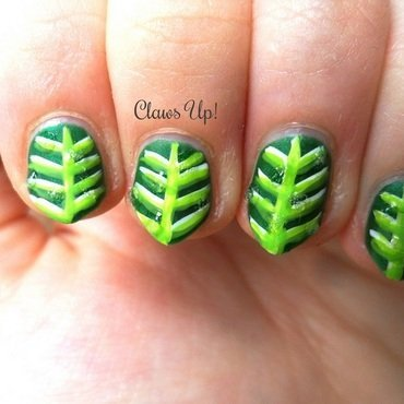 Dew Covered Leaves nail art by Jacquie