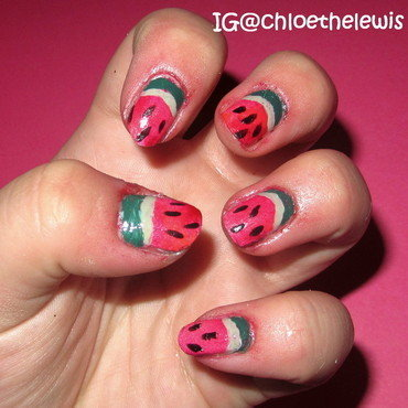 Watermelon Nails nail art by Chloe Lewis