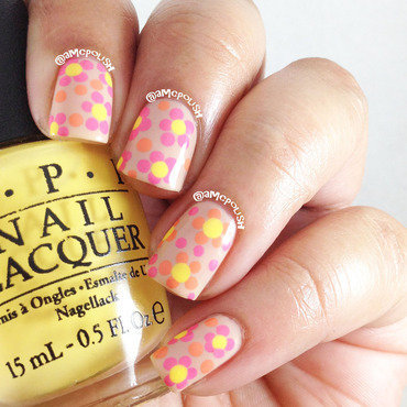 Nude with Colored Flowers nail art by Amber Connor