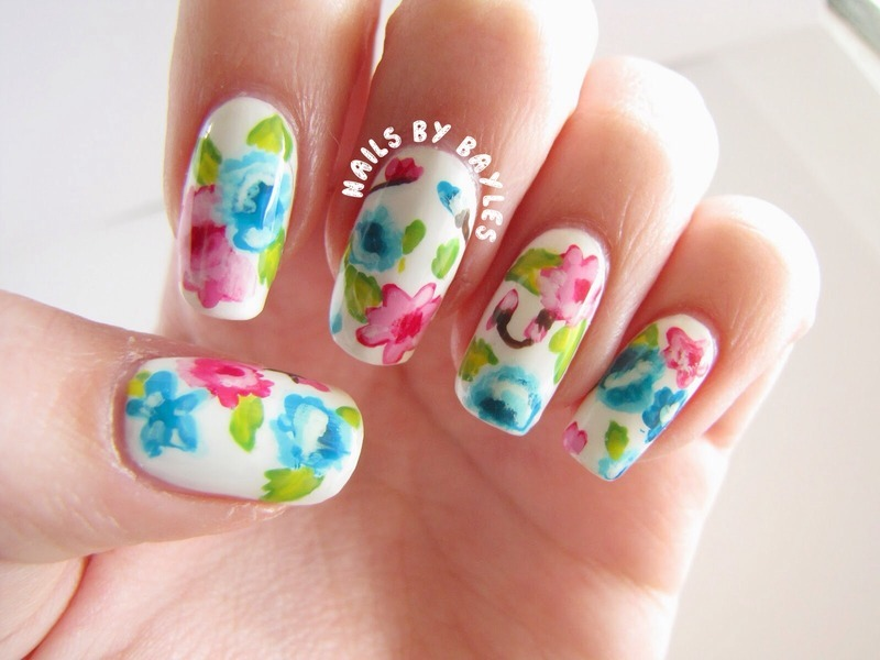 Girly Floral Nails nail art by Baylie
