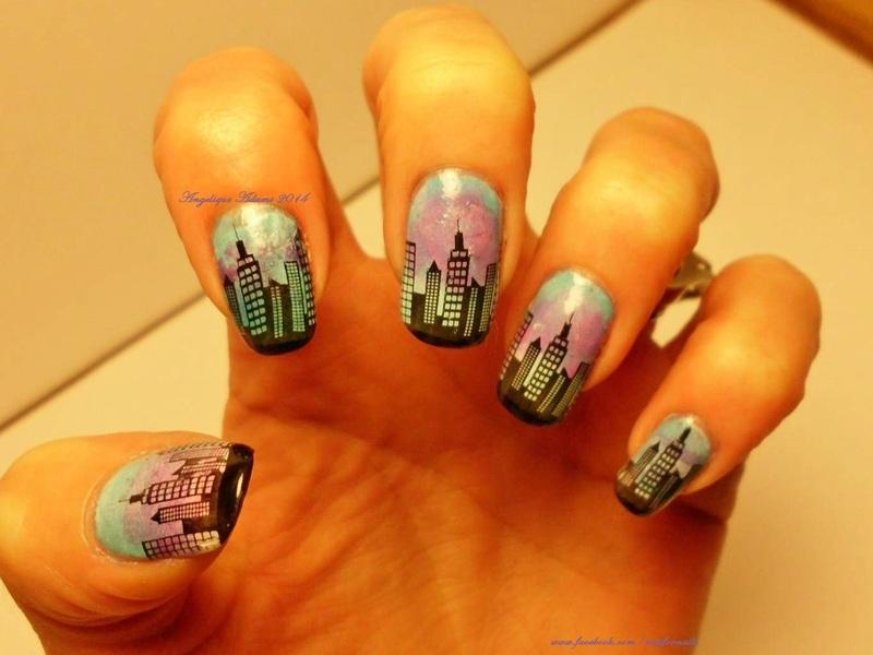 City Nights nail art by Angelique Adams