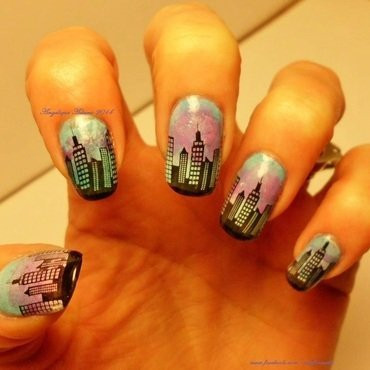 City Nights nail art by Angelique Adams