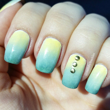 Yellow and green ombre nails with gold studs nail art by NailsbyFreckles