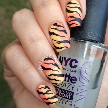 Matte Summer Tiger nail art by PolishedJess
