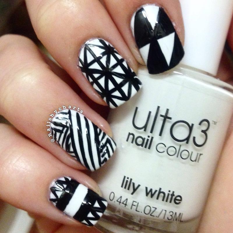 monochrome geometric  nail art by Claudia