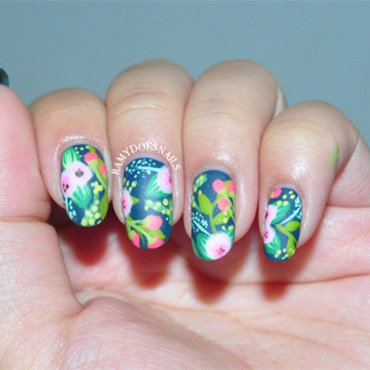 Rifle Paper Co. Inspired Florals nail art by Ramy Ang