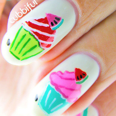 Watermelon Cupcackes - Macro Shot nail art by Cubbiful