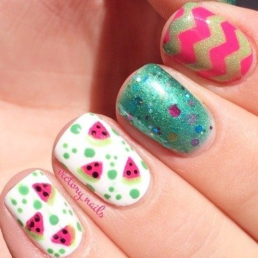 Summery Watermelon nail art by Nicole