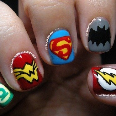 The Justice League nail art by Samantha Rae