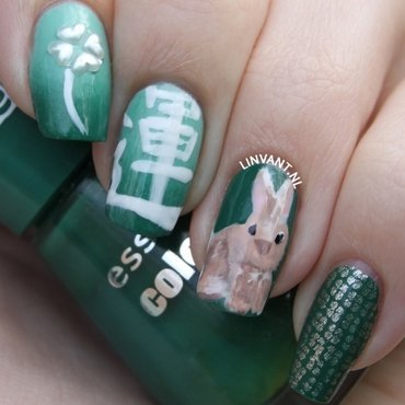 Lucky Bunny nail art by Lin van T