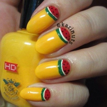 Half watermelon moon nail art by Karina Mahardi