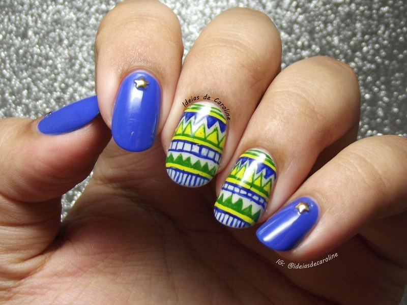 World Cup Nails nail art by Caroline Lopes