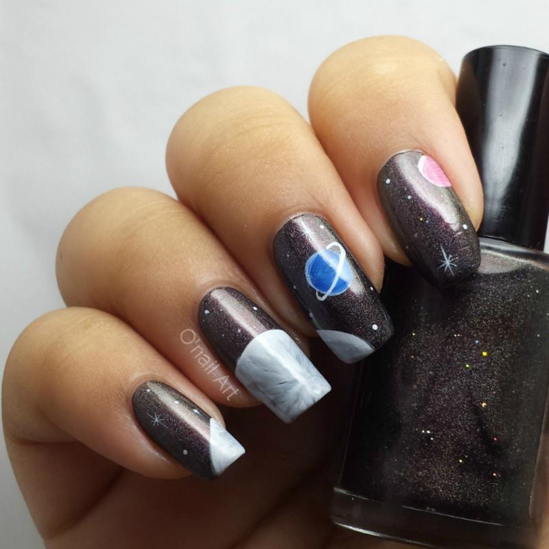 Galaxy Nails nail art by OnailArt