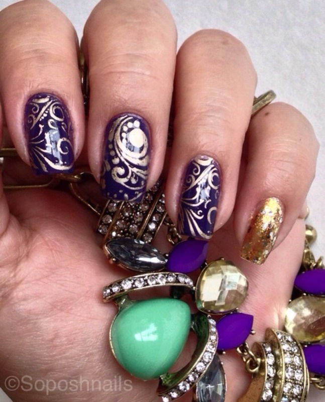Purple with Filigree Stamping nail art by Debbie