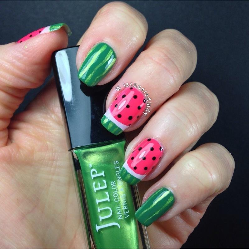 Watermelon Nails nail art by LacqueredLady