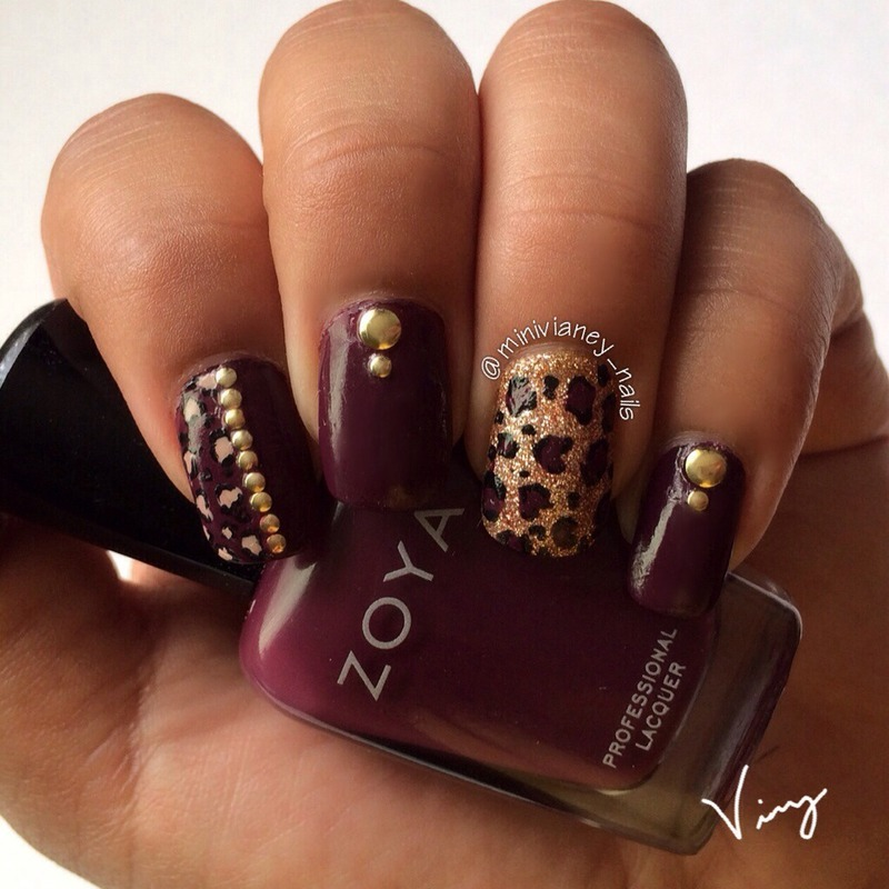 Gold burgundy cheetah nail art by minivianey - Gold Burgundy Cheetah Nail Art By Minivianey - Nailpolis: Museum