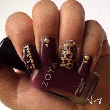 Gold burgundy cheetah  nail art by minivianey