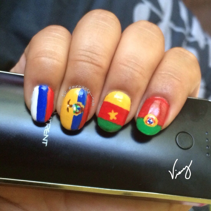World Cup flags nail art by minivianey