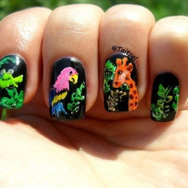 my jungle animals nail art by Teo