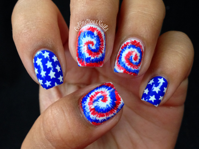Fourth Of July Tie Dye Nail Art - Fourth Of July Tie Dye Nail Art Nail Art By Celine Peña - Nailpolis