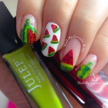 Watermelon Nails 🍉🍉🍉 nail art by Jonna Dee