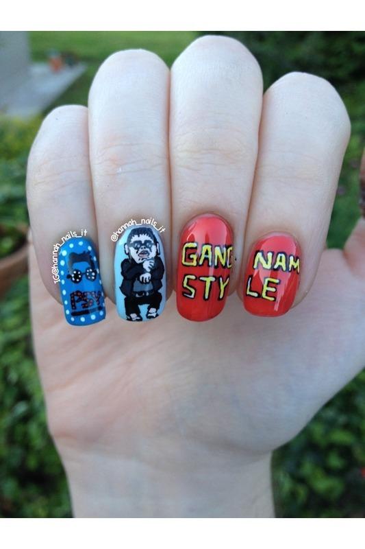 Gangnam Style! nail art by Hannah