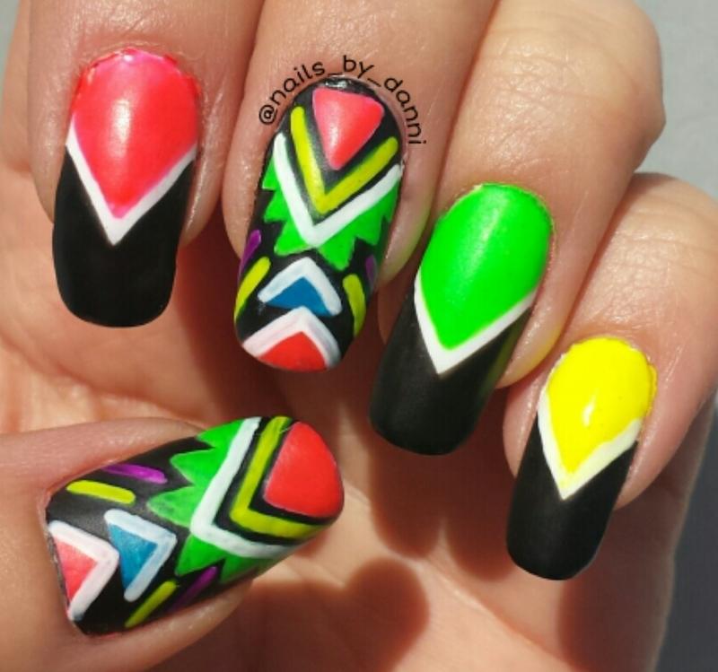aztec neons nail art by Danielle  Hails