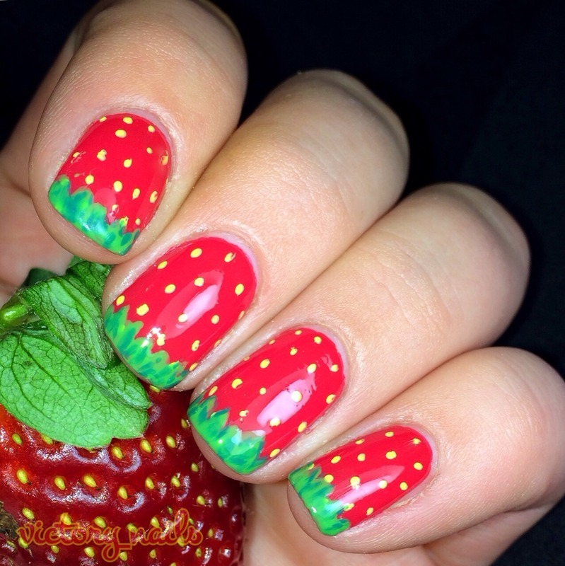 Strawberries nail art by Nicole