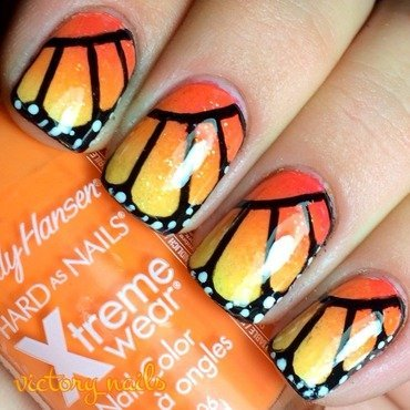 Monarch butterfly nail art by Nicole