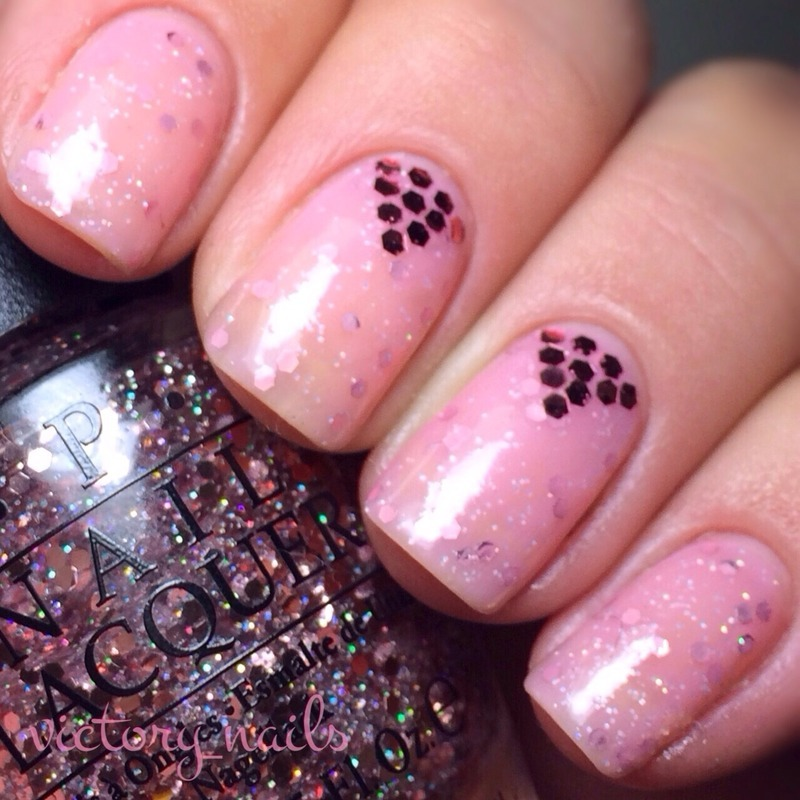 Pretty pink jelly sandwich & glitter placement nail art by Nicole